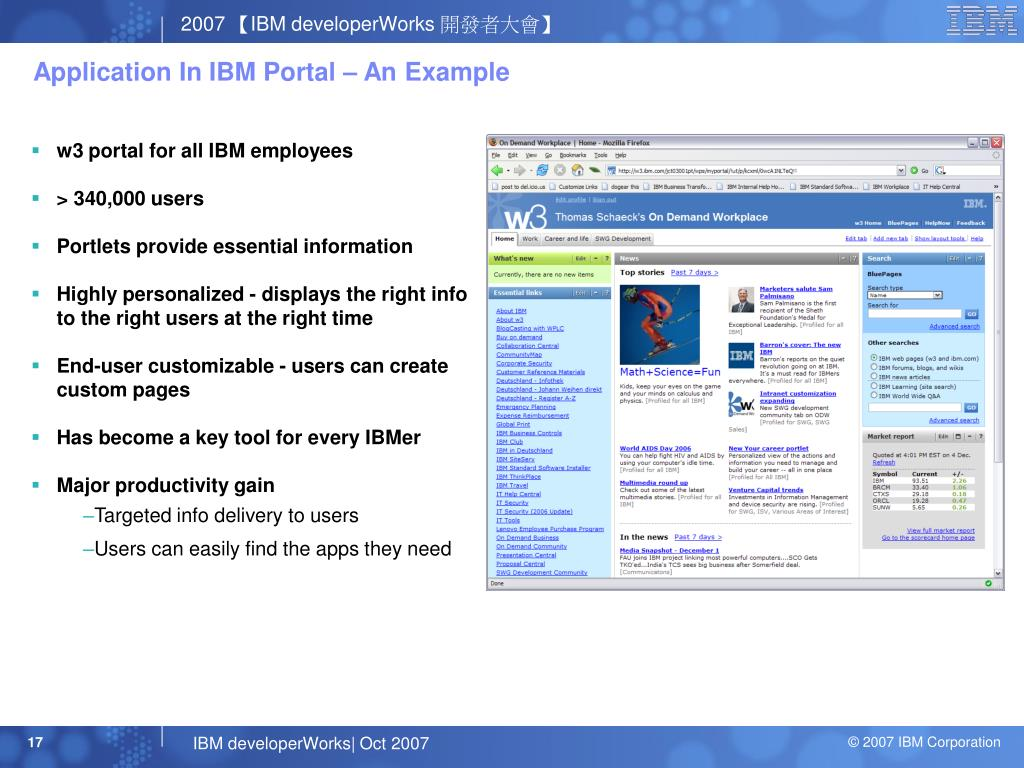 Application In IBM Portal – An Example