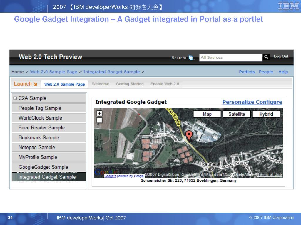 Google Gadget Integration – A Gadget integrated in Portal as a portlet