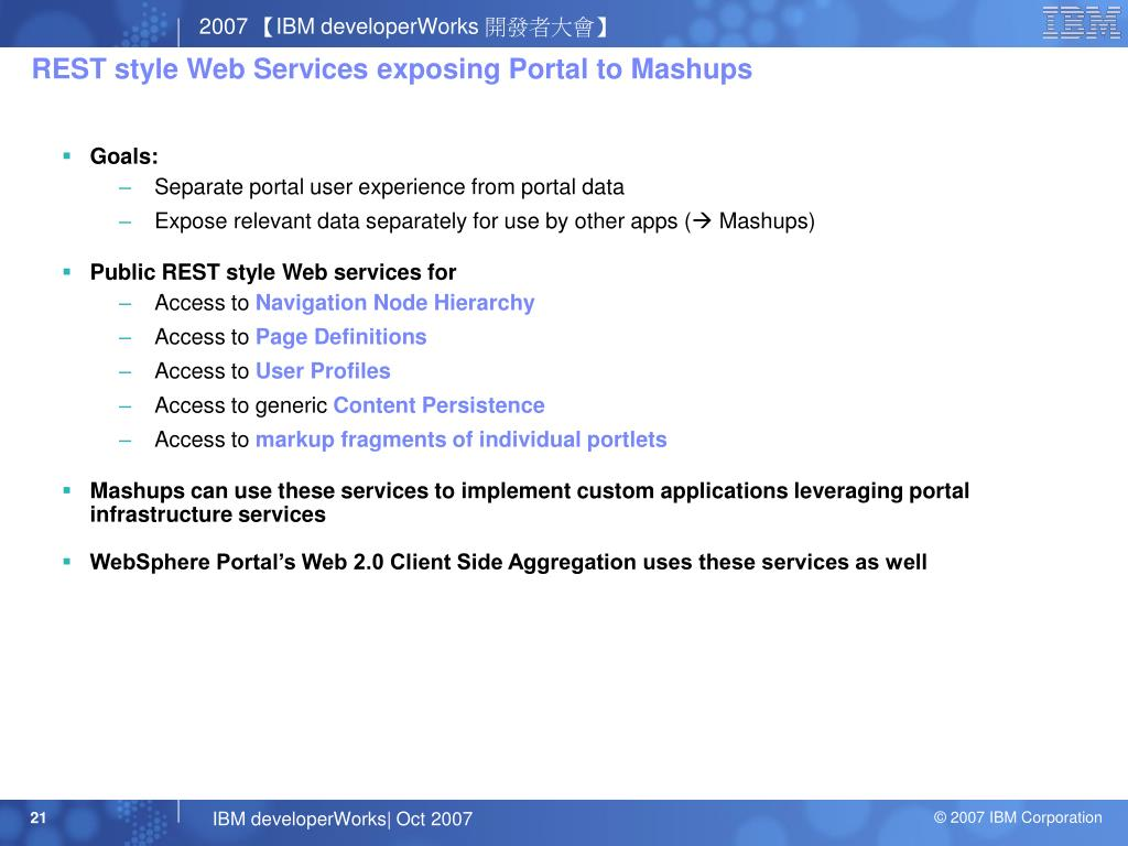 REST style Web Services exposing Portal to Mashups