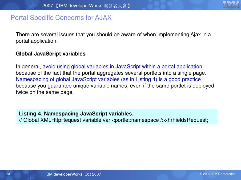 Portal Specific Concerns for AJAX