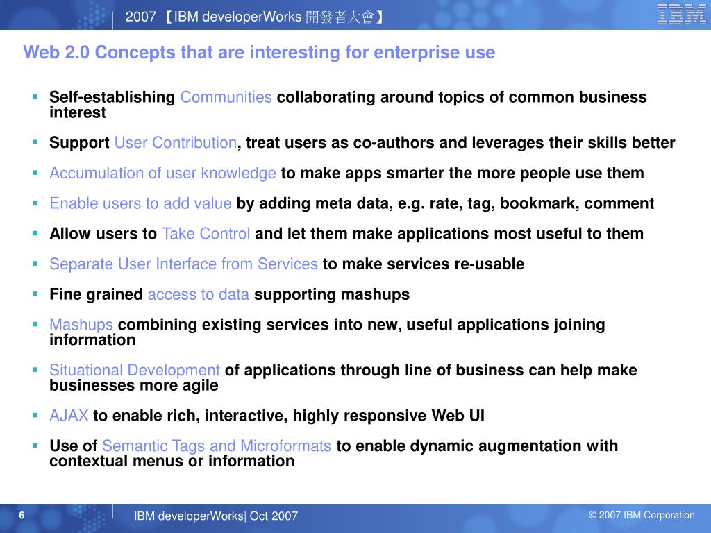 Web 2.0 Concepts that are interesting for enterprise use
