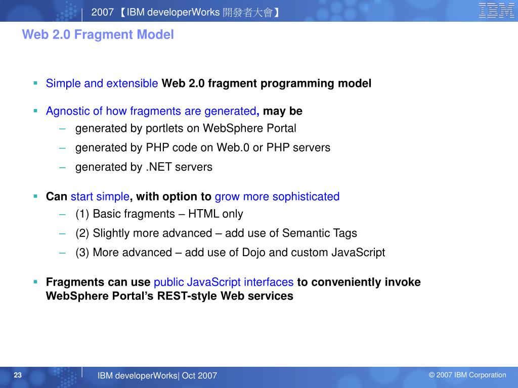 Web 2.0 Fragment Model