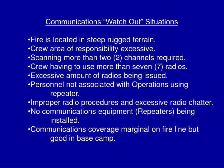 "Communications ""Watch Out"" Situations"