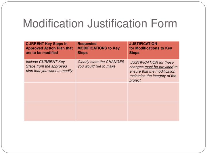 Modification Justification Form