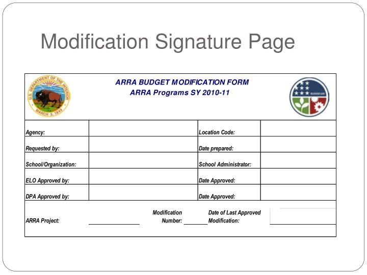 Modification Signature Page