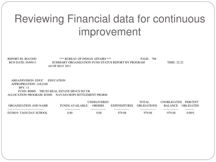 Reviewing Financial data for continuous improvement