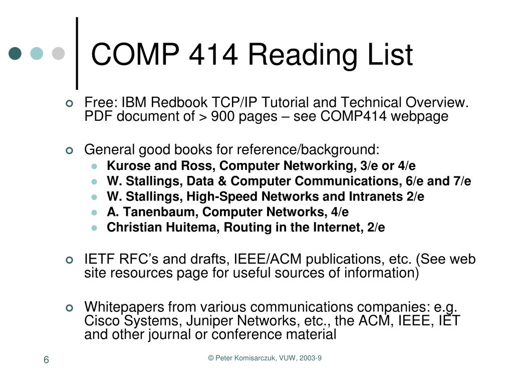 COMP 414 Reading List
