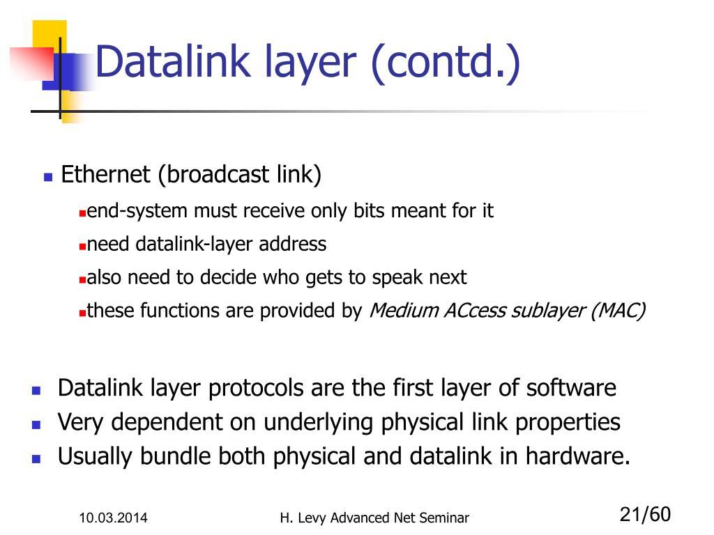 Datalink layer (contd.)