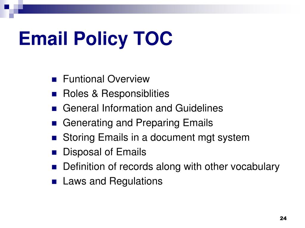 Email Policy TOC