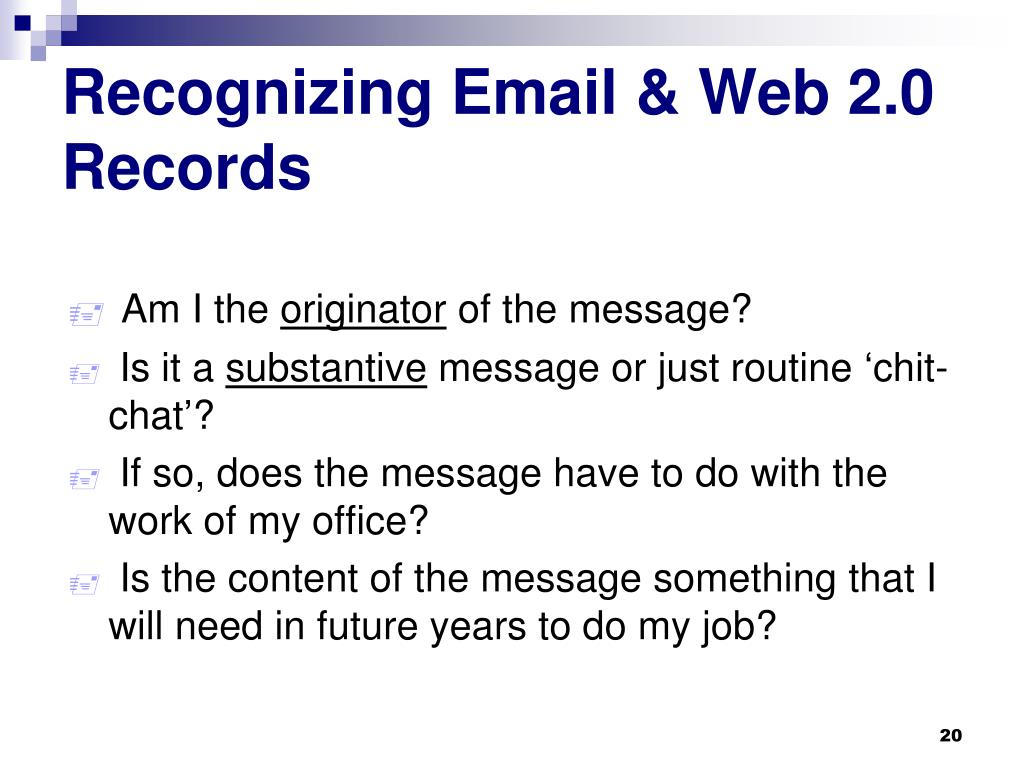 Recognizing Email & Web 2.0 Records