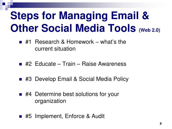 Steps for managing email other social media tools web 2 0