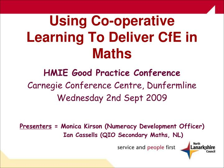 Using Co-operative Learning To Deliver CfE in Maths