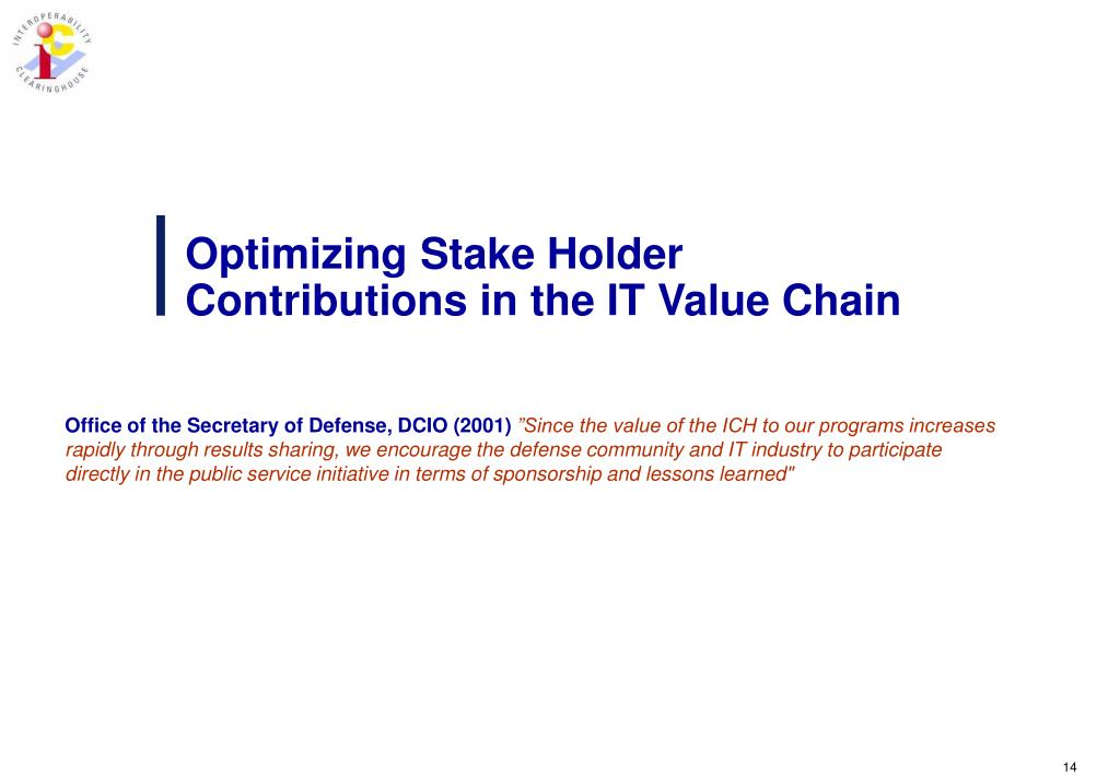 Optimizing Stake Holder Contributions in the IT Value Chain