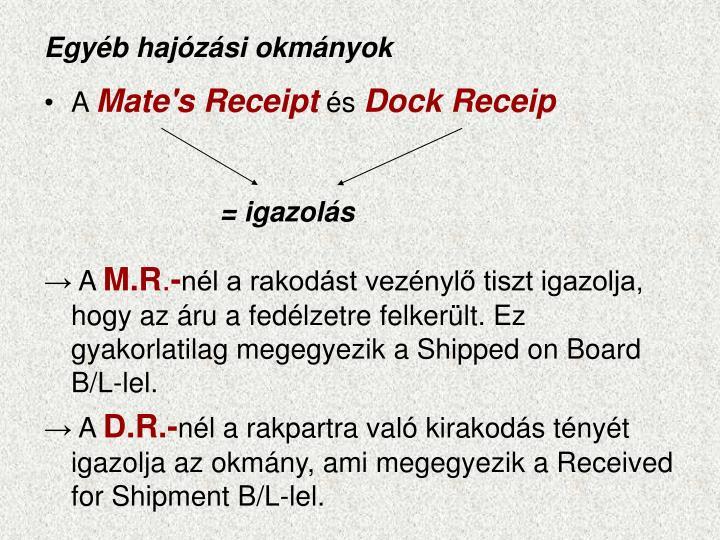 Egyéb hajózási okmányok