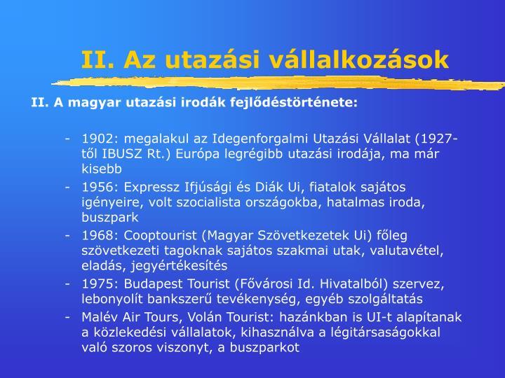 II. Az utazási vállalkozások