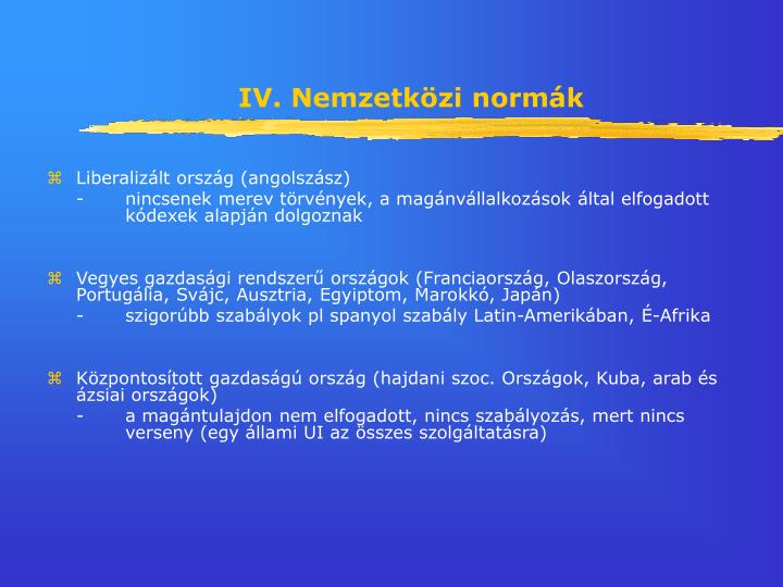 IV. Nemzetközi normák