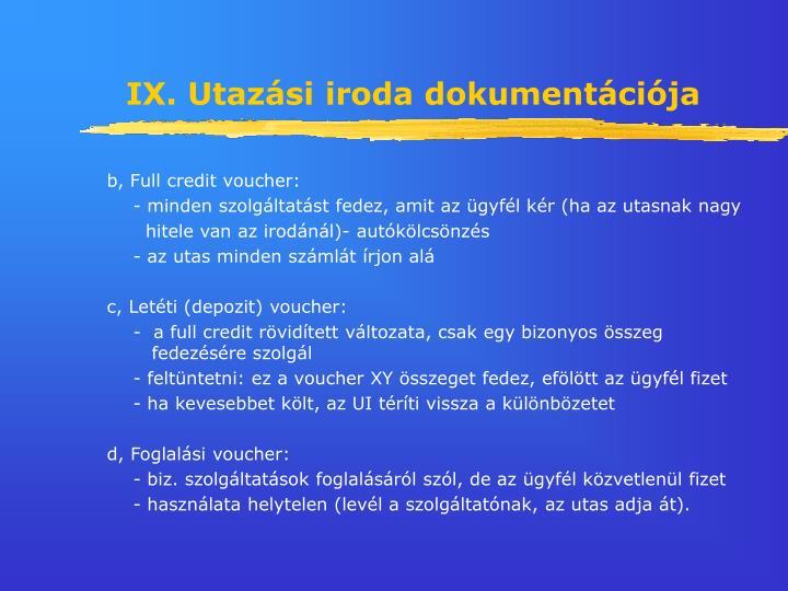IX. Utazási iroda dokumentációja
