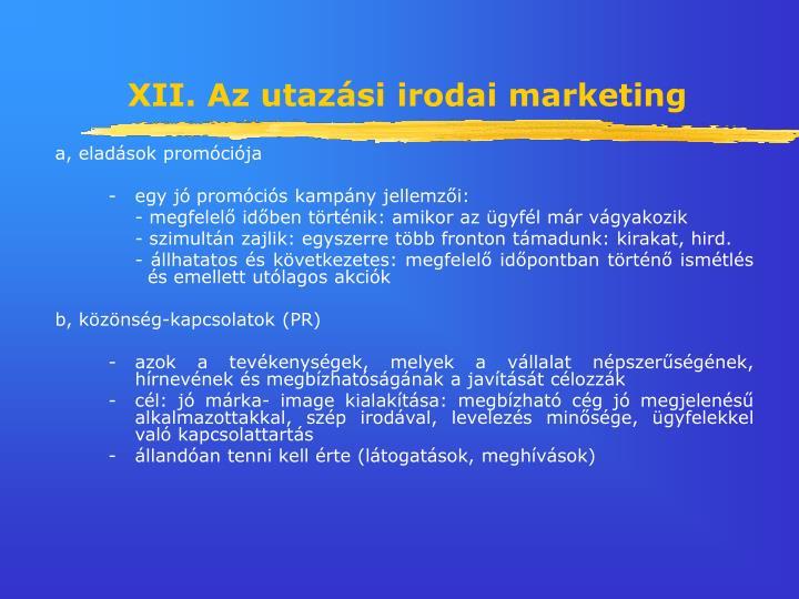 XII. Az utazási irodai marketing
