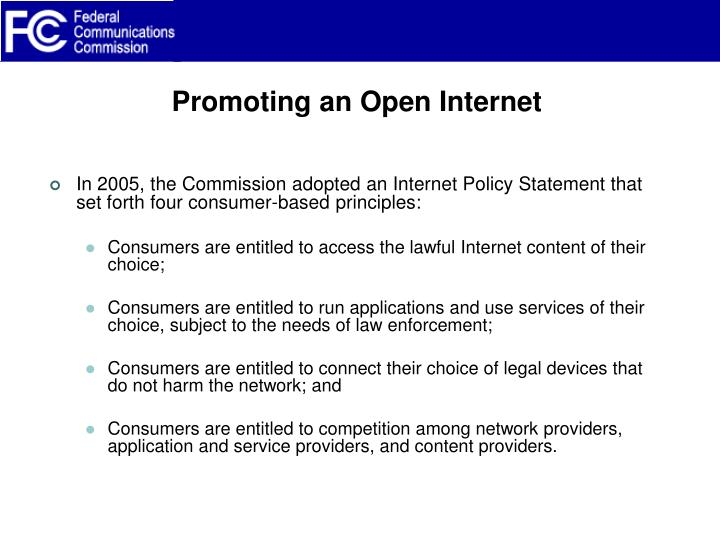 Promoting an Open Internet