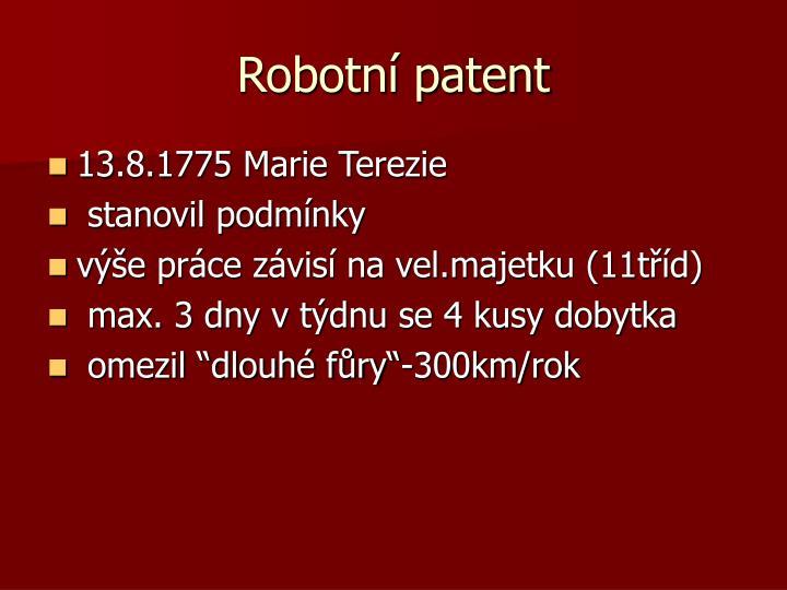 Robotní patent