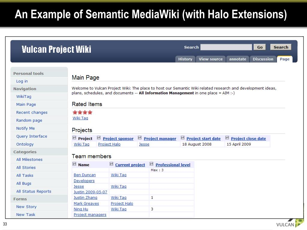 An Example of Semantic MediaWiki (with Halo Extensions)