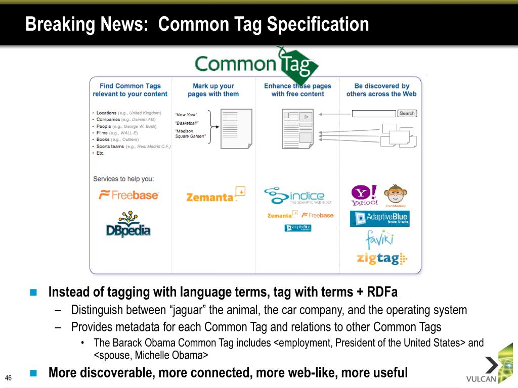 Breaking News:  Common Tag Specification