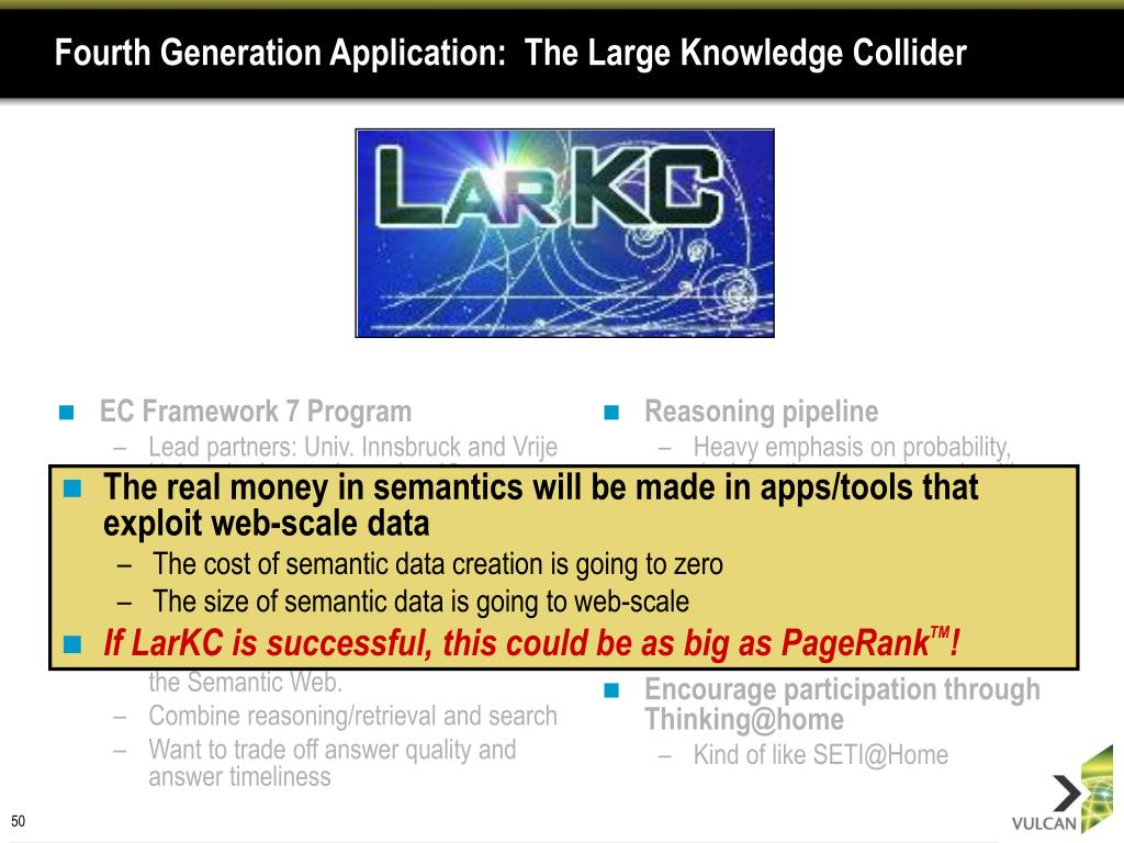 Fourth Generation Application:  The Large Knowledge Collider