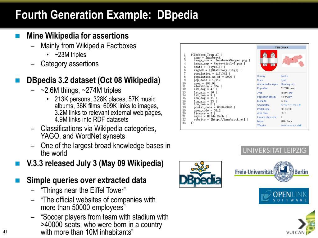 Fourth Generation Example:  DBpedia
