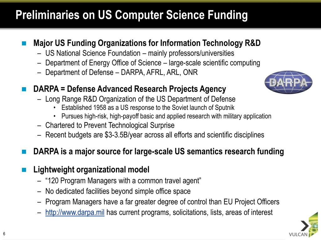 Preliminaries on US Computer Science Funding