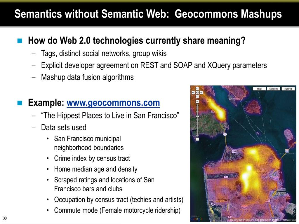 Semantics without Semantic Web:  Geocommons Mashups