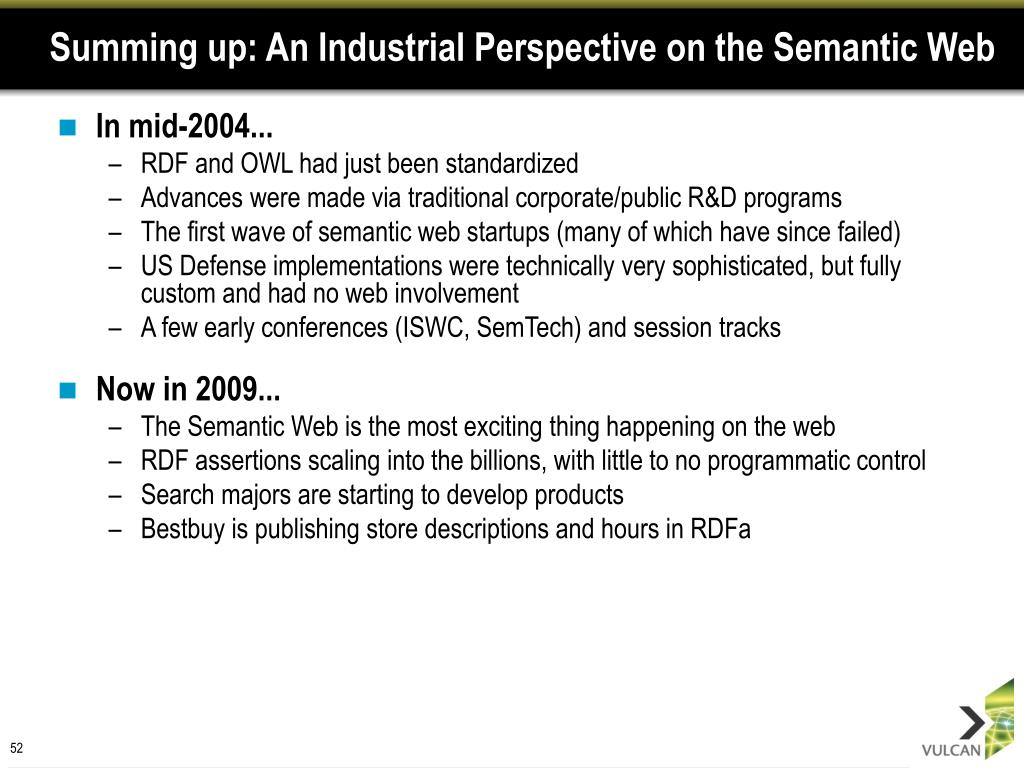 Summing up: An Industrial Perspective on the Semantic Web