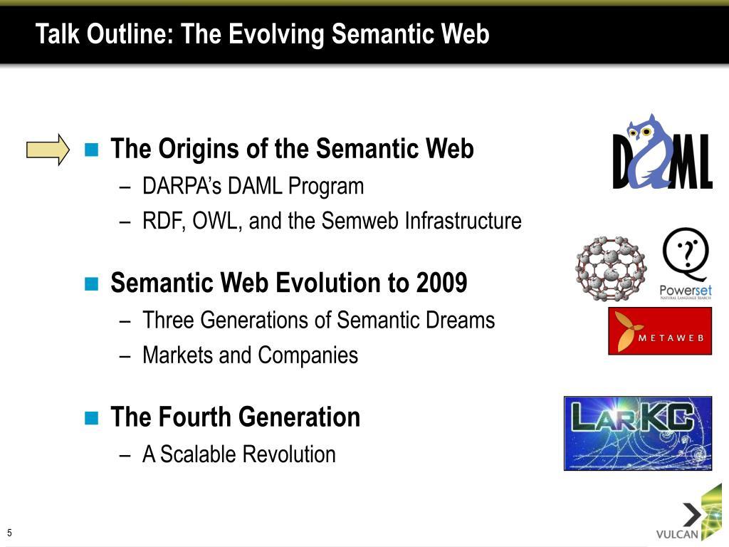 Talk Outline: The Evolving Semantic Web