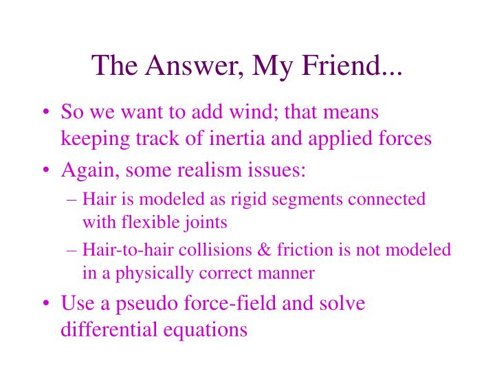 The Answer, My Friend...