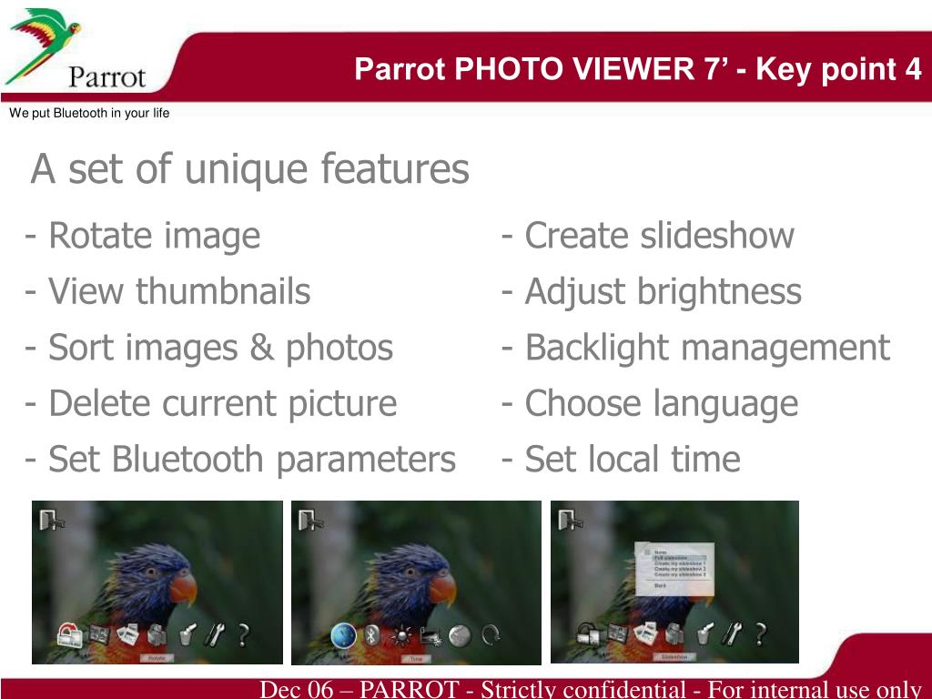 Parrot PHOTO VIEWER 7' - Key point 4