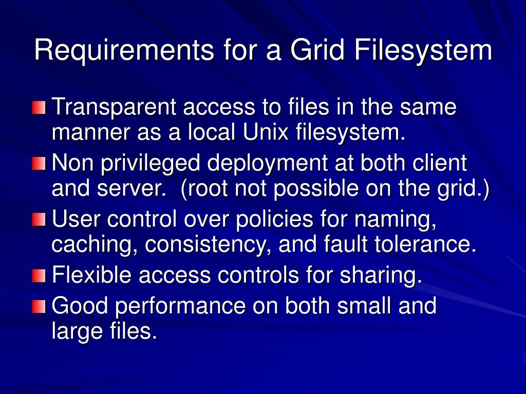Requirements for a Grid Filesystem