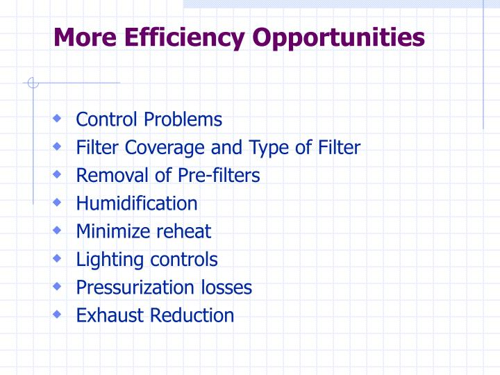 More Efficiency Opportunities