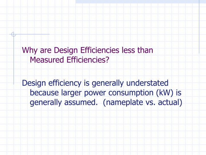 Why are Design Efficiencies less than  Measured Efficiencies?