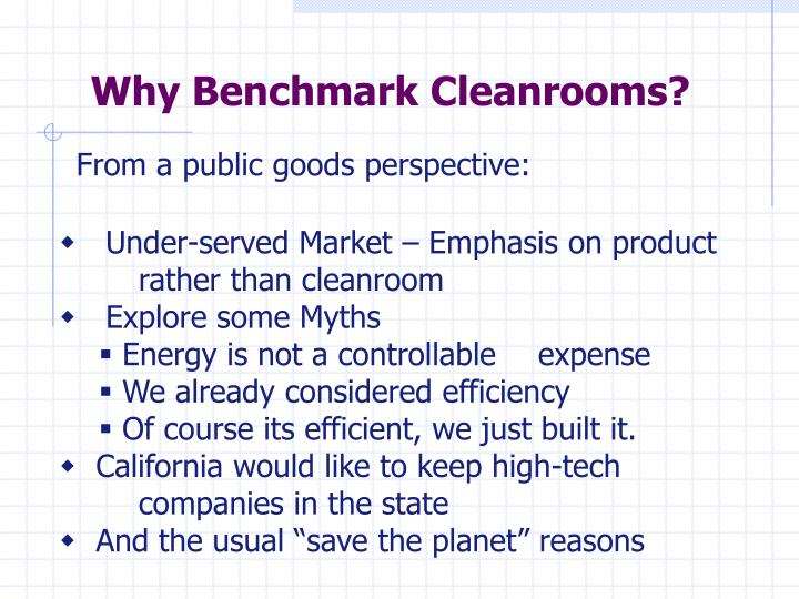 Why Benchmark Cleanrooms?