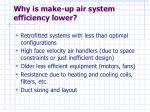 why is make up air system efficiency lower