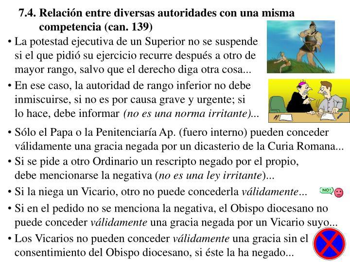 7.4. Relación entre diversas autoridades con una misma competencia (can. 139)