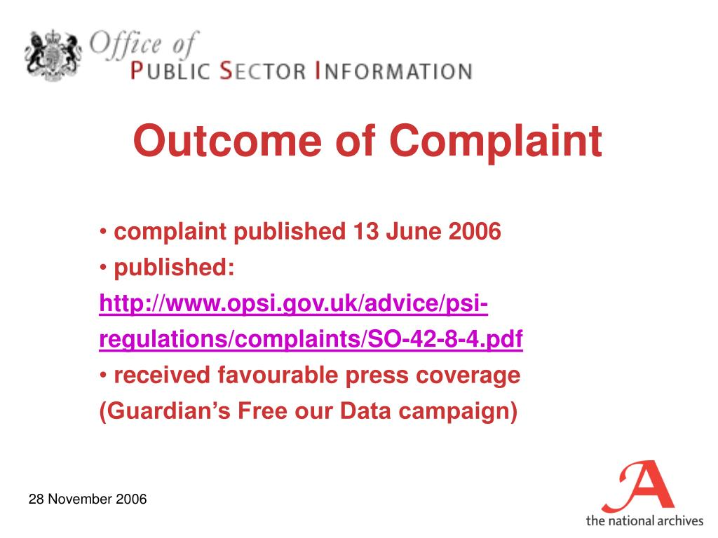 Outcome of Complaint