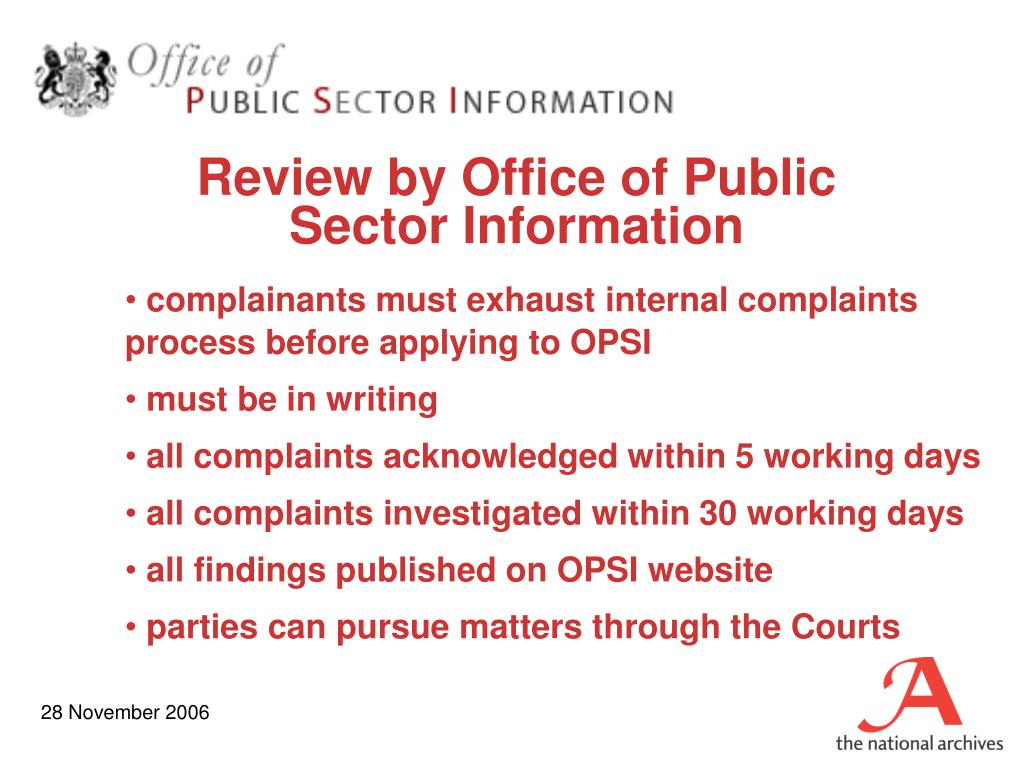 Review by Office of Public Sector Information