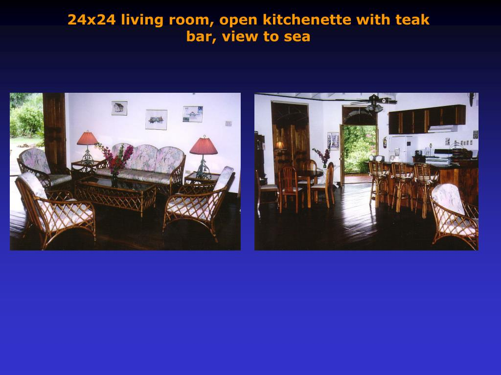 24x24 living room, open kitchenette with teak bar, view to sea