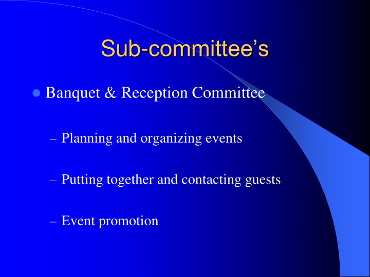 Sub-committee's