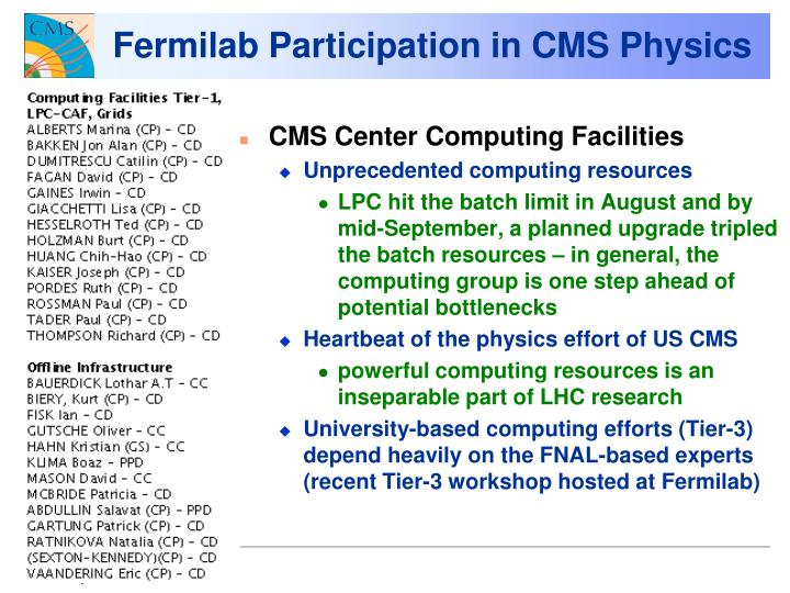 Fermilab Participation in CMS Physics