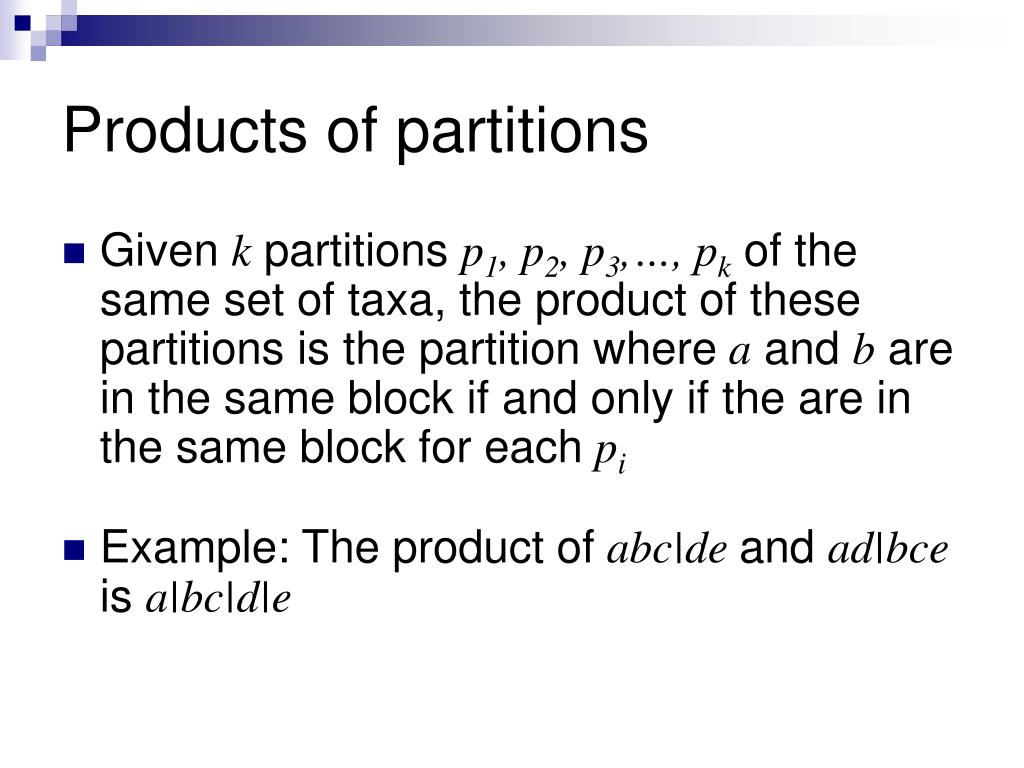 Products of partitions