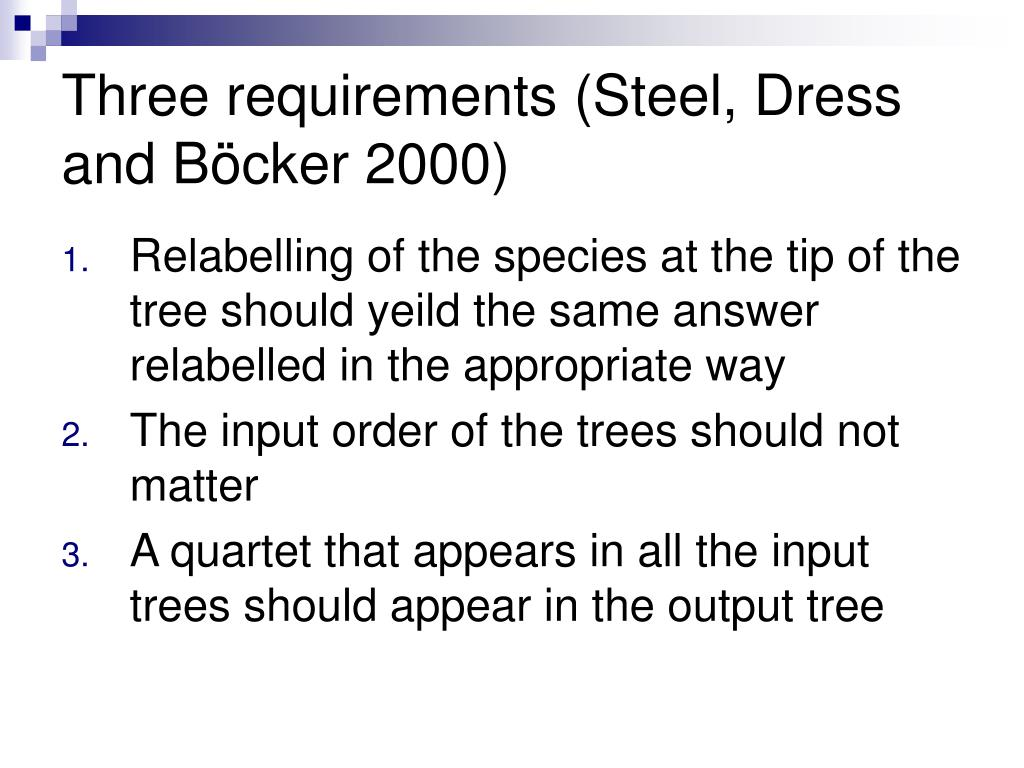 Three requirements (Steel, Dress and B