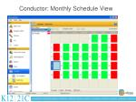 conductor monthly schedule view