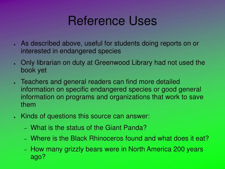 Reference Uses