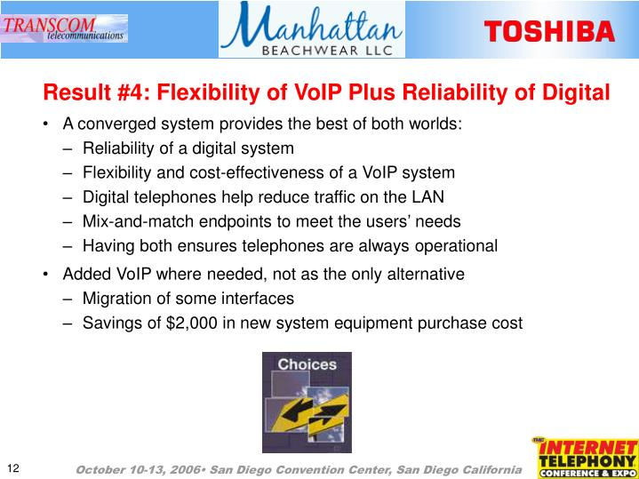 Result #4: Flexibility of VoIP Plus Reliability of Digital